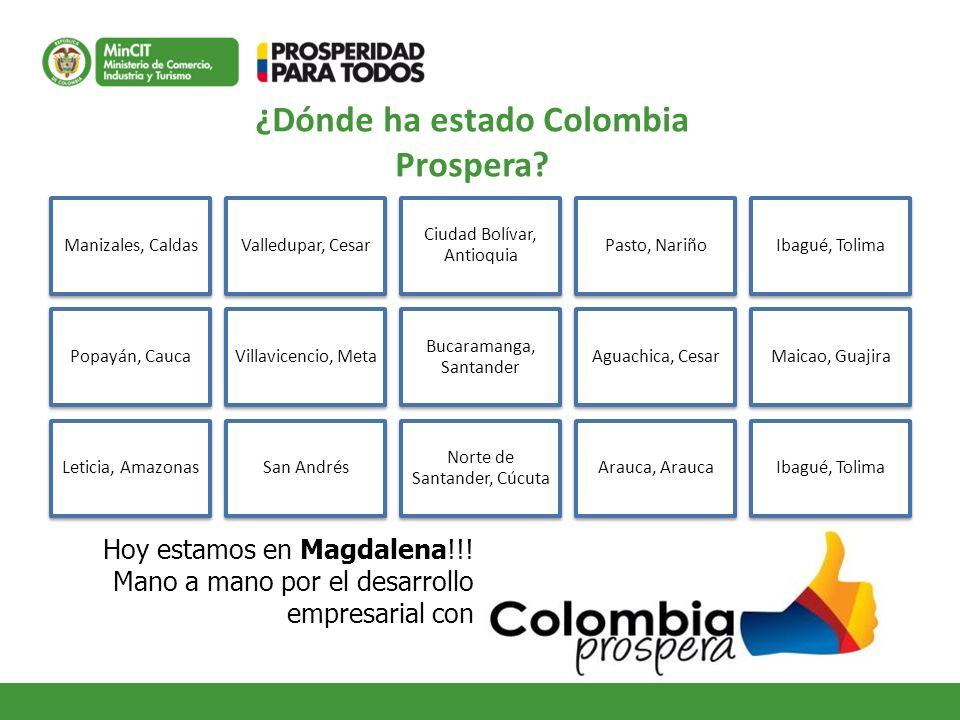 ¿Dónde ha estado Colombia Prospera? Hoy estamos en Magdalena!!! Mano a mano por el desarrollo empresarial con Manizales, CaldasValledupar, Cesar Ciuda