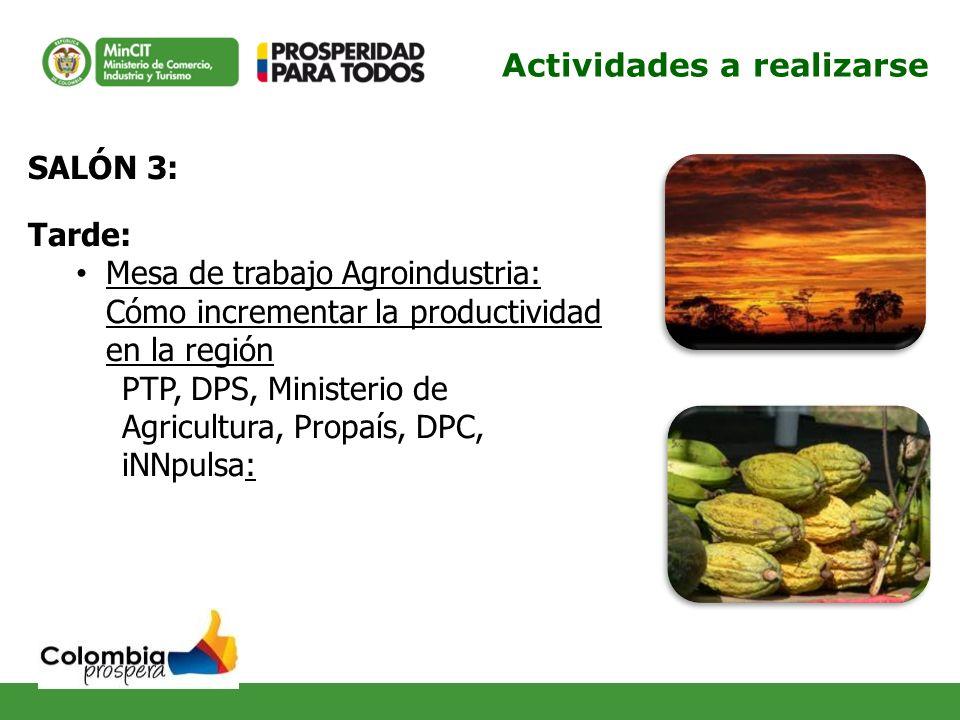 SALÓN 3: Tarde: Mesa de trabajo Agroindustria: Cómo incrementar la productividad en la región PTP, DPS, Ministerio de Agricultura, Propaís, DPC, iNNpu