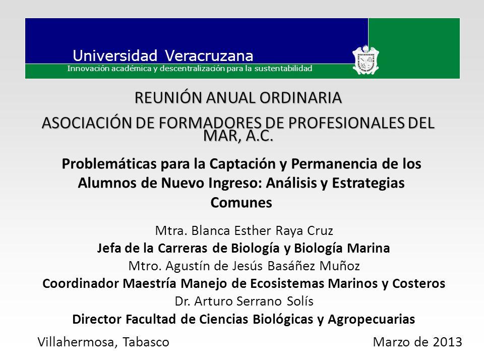 Universidad Veracruzana Innovación académica y descentralización para la sustentabilidad Problemáticas para la Captación y Permanencia de los Alumnos