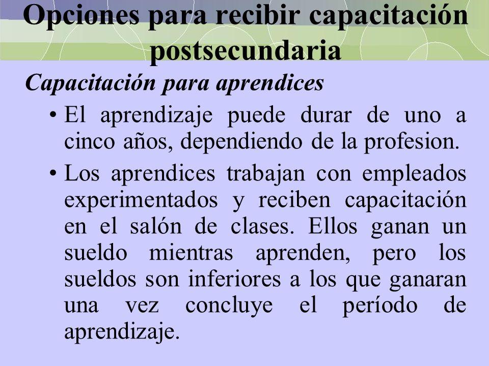 Opciones para recibir capacitación postsecundaria Capacitación para aprendices El aprendizaje puede durar de uno a cinco años, dependiendo de la profe