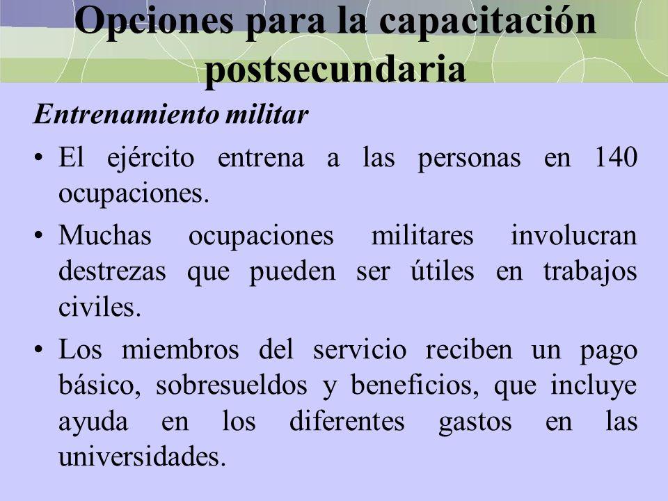Opciones para la capacitación postsecundaria Entrenamiento militar El ejército entrena a las personas en 140 ocupaciones. Muchas ocupaciones militares