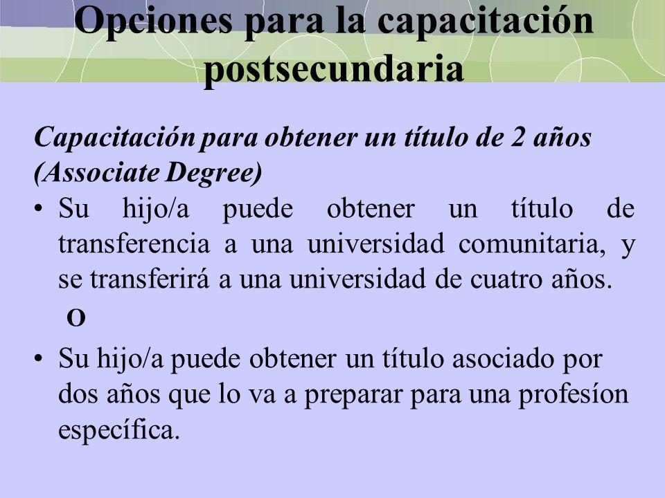 Opciones para la capacitación postsecundaria Capacitación para obtener un título de 2 años (Associate Degree) Su hijo/a puede obtener un título de tra
