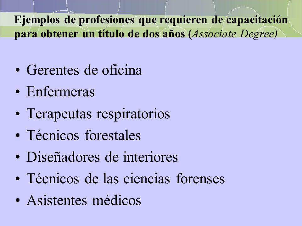 Ejemplos de profesiones que requieren de capacitación para obtener un título de dos años (Associate Degree) Gerentes de oficina Enfermeras Terapeutas