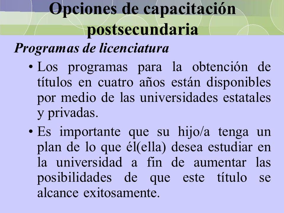 Opciones de capacitación postsecundaria Programas de licenciatura Los programas para la obtención de títulos en cuatro años están disponibles por medi