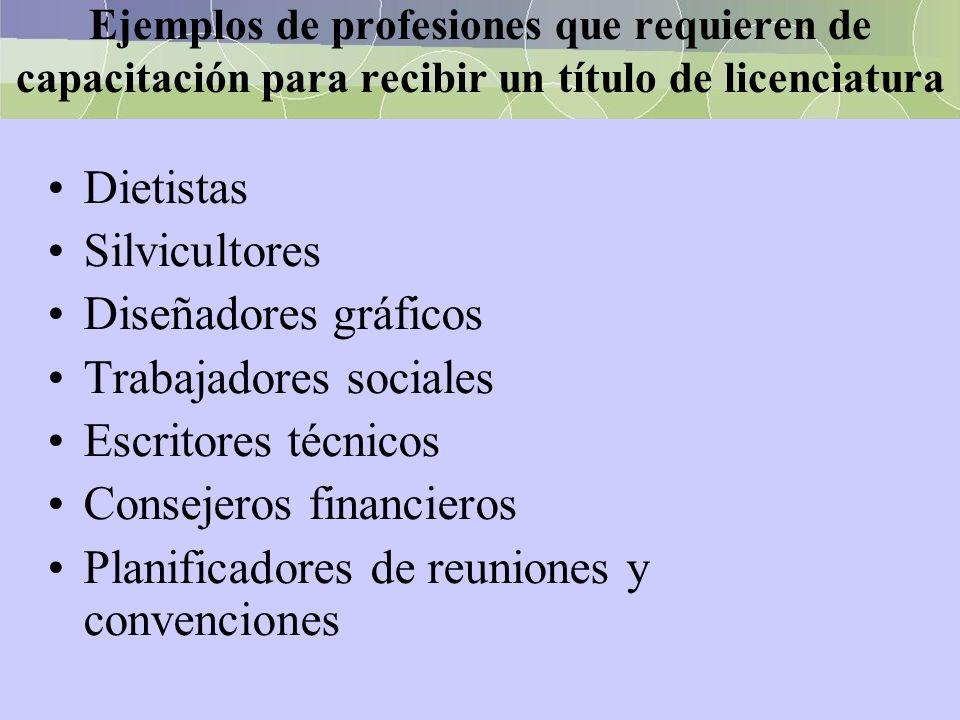 Ejemplos de profesiones que requieren de capacitación para recibir un título de licenciatura Dietistas Silvicultores Diseñadores gráficos Trabajadores