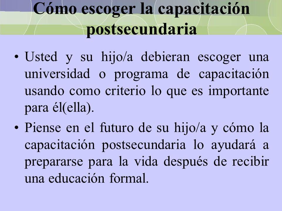 Cómo escoger la capacitación postsecundaria Usted y su hijo/a debieran escoger una universidad o programa de capacitación usando como criterio lo que