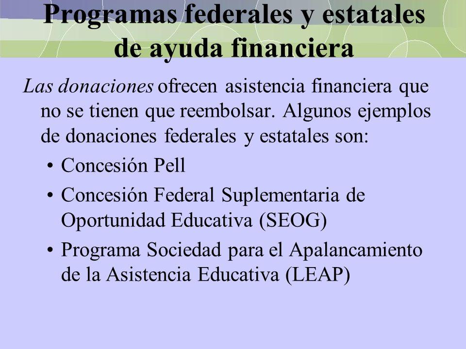 Programas federales y estatales de ayuda financiera Las donaciones ofrecen asistencia financiera que no se tienen que reembolsar. Algunos ejemplos de