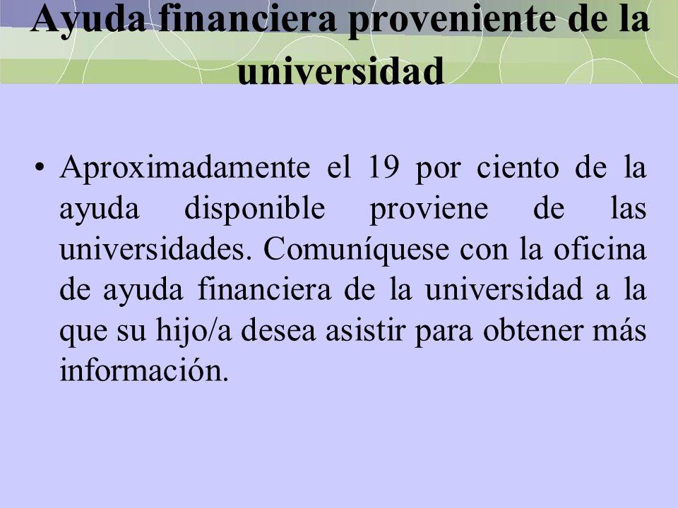 Ayuda financiera proveniente de la universidad Aproximadamente el 19 por ciento de la ayuda disponible proviene de las universidades. Comuníquese con