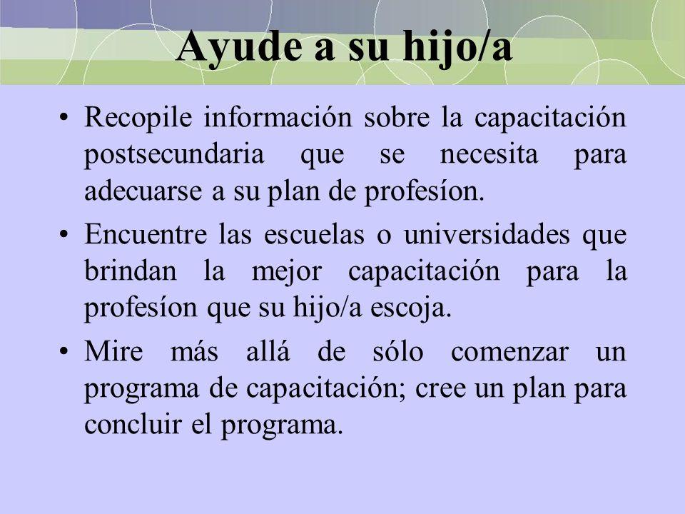 Ayude a su hijo/a Recopile información sobre la capacitación postsecundaria que se necesita para adecuarse a su plan de profesíon. Encuentre las escue