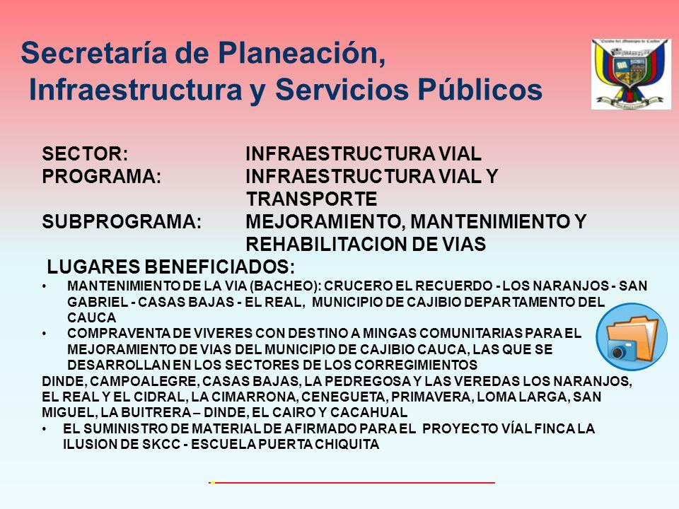 SECTOR: INFRAESTRUCTURA VIAL PROGRAMA: INFRAESTRUCTURA VIAL Y TRANSPORTE SUBPROGRAMA: MEJORAMIENTO, MANTENIMIENTO Y REHABILITACION DE VIAS LUGARES BENEFICIADOS: MANTENIMIENTO DE LA VIA (BACHEO): CRUCERO EL RECUERDO - LOS NARANJOS - SAN GABRIEL - CASAS BAJAS - EL REAL, MUNICIPIO DE CAJIBIO DEPARTAMENTO DEL CAUCA COMPRAVENTA DE VIVERES CON DESTINO A MINGAS COMUNITARIAS PARA EL MEJORAMIENTO DE VIAS DEL MUNICIPIO DE CAJIBIO CAUCA, LAS QUE SE DESARROLLAN EN LOS SECTORES DE LOS CORREGIMIENTOS DINDE, CAMPOALEGRE, CASAS BAJAS, LA PEDREGOSA Y LAS VEREDAS LOS NARANJOS, EL REAL Y EL CIDRAL, LA CIMARRONA, CENEGUETA, PRIMAVERA, LOMA LARGA, SAN MIGUEL, LA BUITRERA – DINDE, EL CAIRO Y CACAHUAL EL SUMINISTRO DE MATERIAL DE AFIRMADO PARA EL PROYECTO VÍAL FINCA LA ILUSION DE SKCC - ESCUELA PUERTA CHIQUITA Secretaría de Planeación, Infraestructura y Servicios Públicos