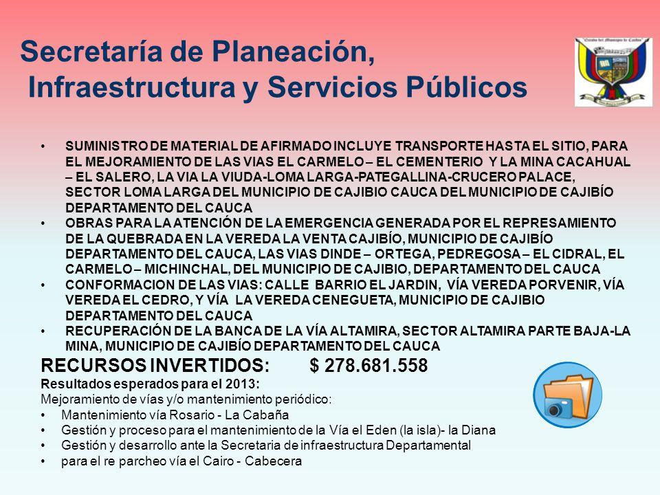 SUMINISTRO DE MATERIAL DE AFIRMADO INCLUYE TRANSPORTE HASTA EL SITIO, PARA EL MEJORAMIENTO DE LAS VIAS EL CARMELO – EL CEMENTERIO Y LA MINA CACAHUAL – EL SALERO, LA VIA LA VIUDA-LOMA LARGA-PATEGALLINA-CRUCERO PALACE, SECTOR LOMA LARGA DEL MUNICIPIO DE CAJIBIO CAUCA DEL MUNICIPIO DE CAJIBÍO DEPARTAMENTO DEL CAUCA OBRAS PARA LA ATENCIÓN DE LA EMERGENCIA GENERADA POR EL REPRESAMIENTO DE LA QUEBRADA EN LA VEREDA LA VENTA CAJIBÍO, MUNICIPIO DE CAJIBÍO DEPARTAMENTO DEL CAUCA, LAS VIAS DINDE – ORTEGA, PEDREGOSA – EL CIDRAL, EL CARMELO – MICHINCHAL, DEL MUNICIPIO DE CAJIBIO, DEPARTAMENTO DEL CAUCA CONFORMACION DE LAS VIAS: CALLE BARRIO EL JARDIN, VÍA VEREDA PORVENIR, VÍA VEREDA EL CEDRO, Y VÍA LA VEREDA CENEGUETA, MUNICIPIO DE CAJIBIO DEPARTAMENTO DEL CAUCA RECUPERACIÓN DE LA BANCA DE LA VÍA ALTAMIRA, SECTOR ALTAMIRA PARTE BAJA-LA MINA, MUNICIPIO DE CAJIBÍO DEPARTAMENTO DEL CAUCA RECURSOS INVERTIDOS: $ 278.681.558 Resultados esperados para el 2013: Mejoramiento de vías y/o mantenimiento periódico: Mantenimiento vía Rosario - La Cabaña Gestión y proceso para el mantenimiento de la Vía el Eden (la isla)- la Diana Gestión y desarrollo ante la Secretaria de infraestructura Departamental para el re parcheo vía el Cairo - Cabecera Secretaría de Planeación, Infraestructura y Servicios Públicos