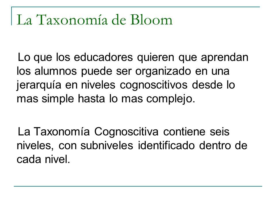 La Taxonomía de Bloom Lo que los educadores quieren que aprendan los alumnos puede ser organizado en una jerarquía en niveles cognoscitivos desde lo m