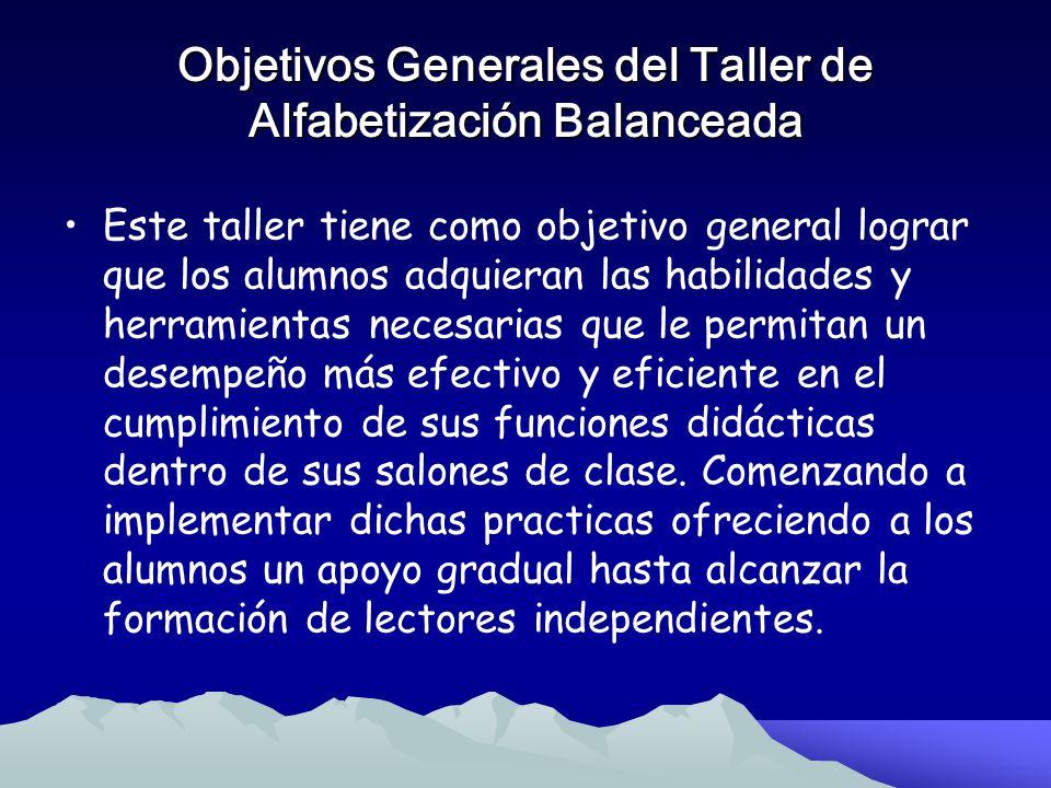Objetivos Generales y Específicos del Taller de Alfabetización Balanceada