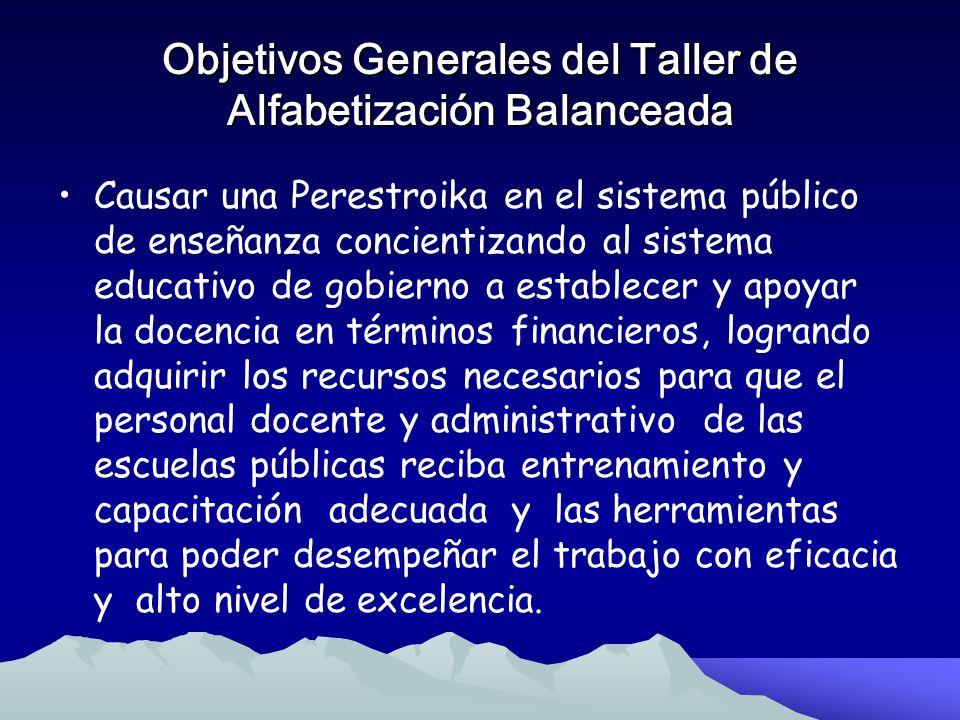 Objetivos Generales del Taller de Alfabetización Balanceada Este taller tiene como objetivo general lograr que los alumnos adquieran las habilidades y