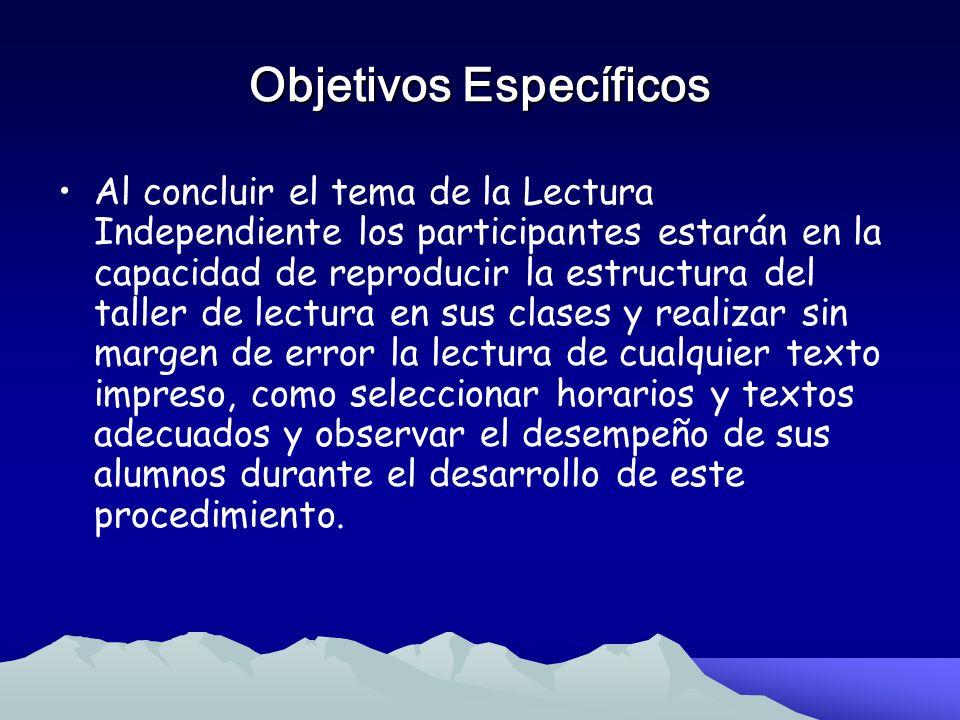 Objetivos Específicos Al concluir el tema de la Lectura Guiada los participantes deberán definir sin margen de error lo que significa la Lectura Guiad