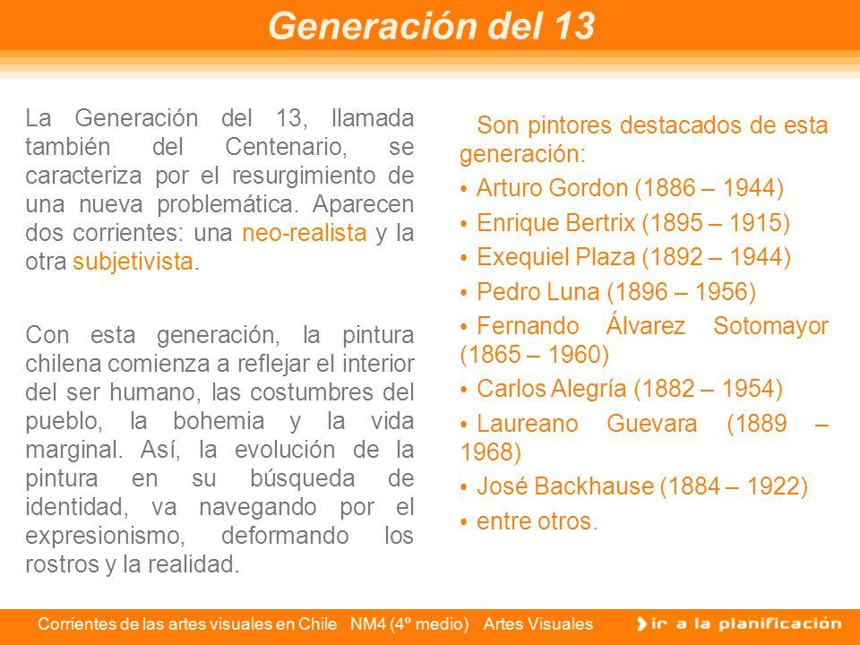 Corrientes de las artes visuales en Chile NM4 (4º medio) Artes Visuales Los pintores de la Generación del 28 alentaron la modernidad desde las escuelas artísticas, haciendo que los jóvenes se formaran respetando los valores de la investigación pictórica, asumiendo una total libertad de expresión.