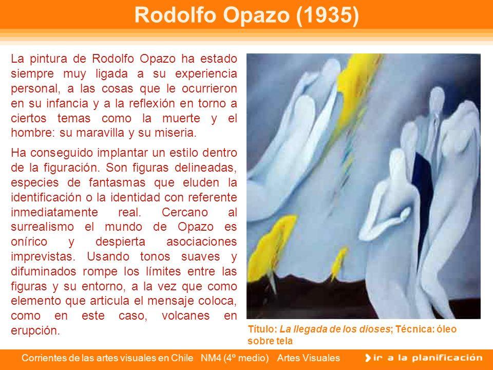 Corrientes de las artes visuales en Chile NM4 (4º medio) Artes Visuales Rodolfo Opazo (1935) La pintura de Rodolfo Opazo ha estado siempre muy ligada