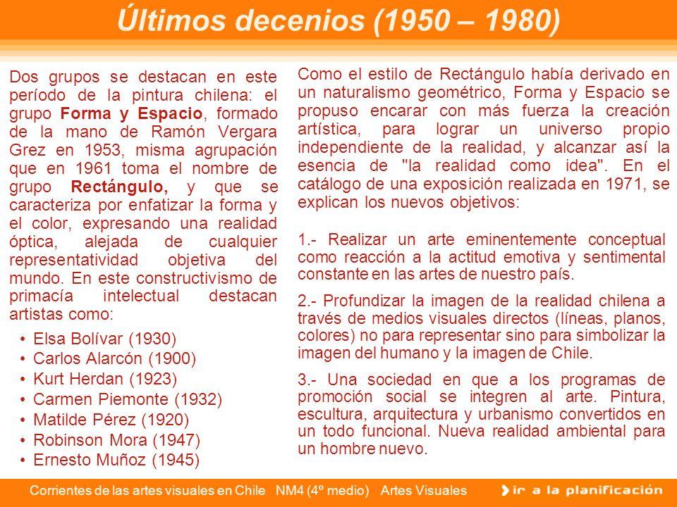 Corrientes de las artes visuales en Chile NM4 (4º medio) Artes Visuales Últimos decenios (1950 – 1980) Dos grupos se destacan en este período de la pi