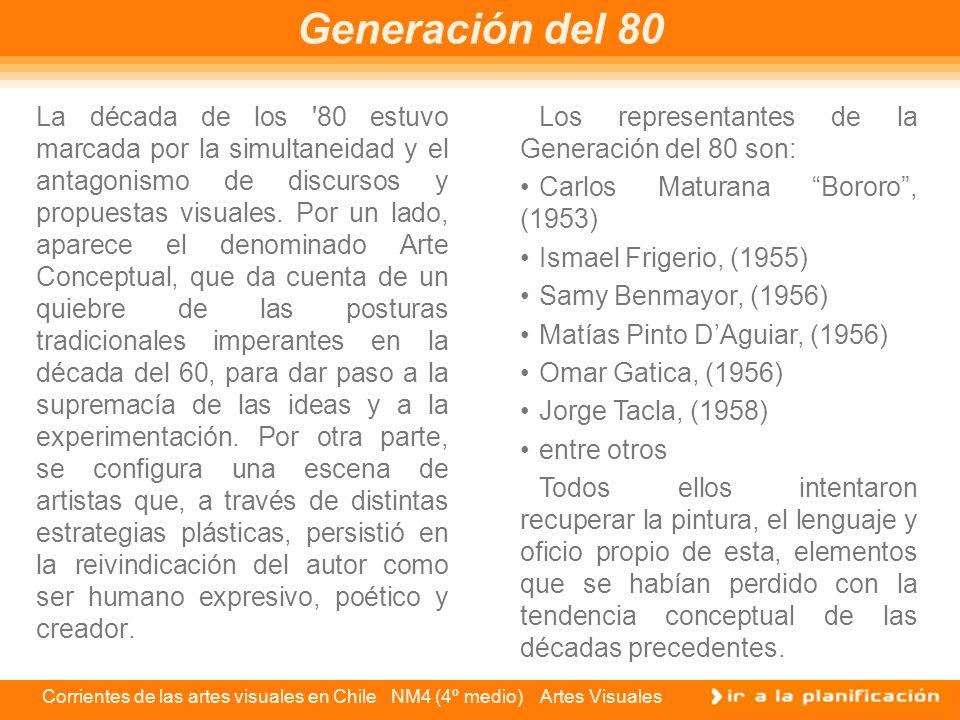 Corrientes de las artes visuales en Chile NM4 (4º medio) Artes Visuales La década de los '80 estuvo marcada por la simultaneidad y el antagonismo de d