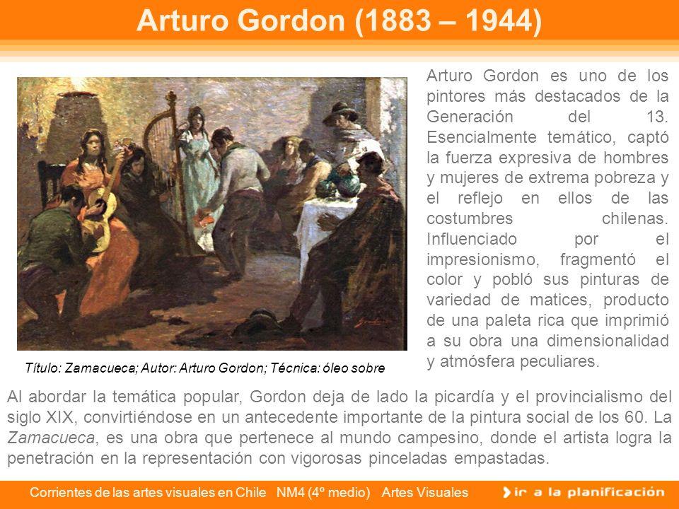 Corrientes de las artes visuales en Chile NM4 (4º medio) Artes Visuales Arturo Gordon (1883 – 1944) Arturo Gordon es uno de los pintores más destacado