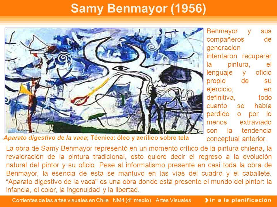 Corrientes de las artes visuales en Chile NM4 (4º medio) Artes Visuales Samy Benmayor (1956) Benmayor y sus compañeros de generación intentaron recupe