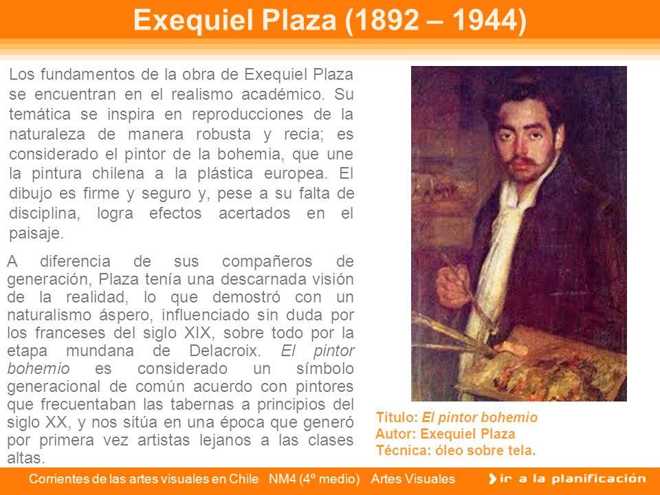Corrientes de las artes visuales en Chile NM4 (4º medio) Artes Visuales Exequiel Plaza (1892 – 1944) Los fundamentos de la obra de Exequiel Plaza se e