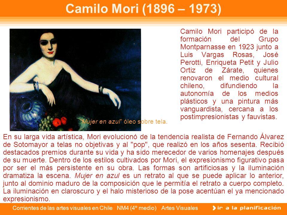 Corrientes de las artes visuales en Chile NM4 (4º medio) Artes Visuales Ximena Cristi (1920) El repertorio plástico de la artista está formado por interiores, rincones del jardín, trozos de paisaje, naturalezas muertas y figuras humanas.