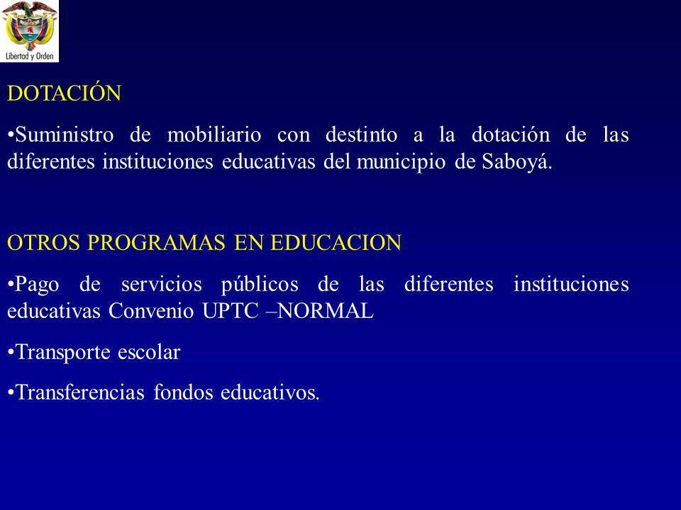DOTACIÓN Suministro de mobiliario con destinto a la dotación de las diferentes instituciones educativas del municipio de Saboyá.