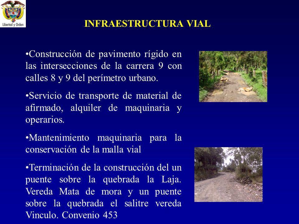 Construcción de pavimento rígido en las intersecciones de la carrera 9 con calles 8 y 9 del perímetro urbano.