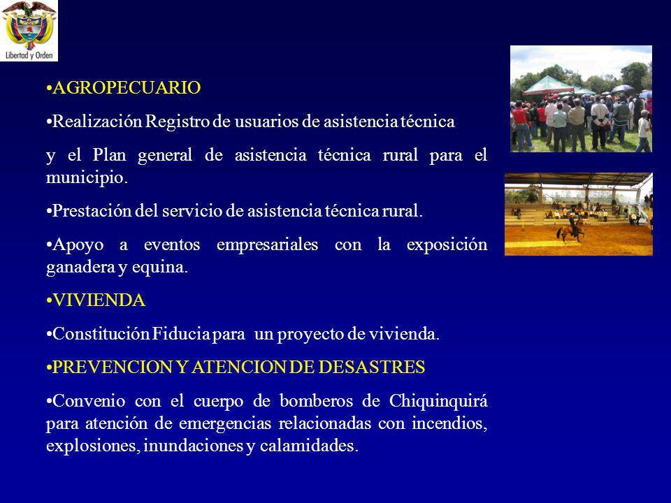 AGROPECUARIO Realización Registro de usuarios de asistencia técnica y el Plan general de asistencia técnica rural para el municipio.