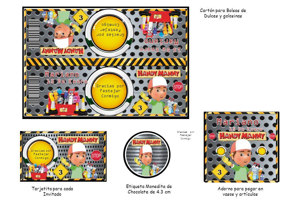 Cartón para Bolsas de Dulces y golosinas Tarjetita para cada Invitado Etiqueta Monedita de Chocolate de 4.3 cm Adorno para pegar en vasos y artículos