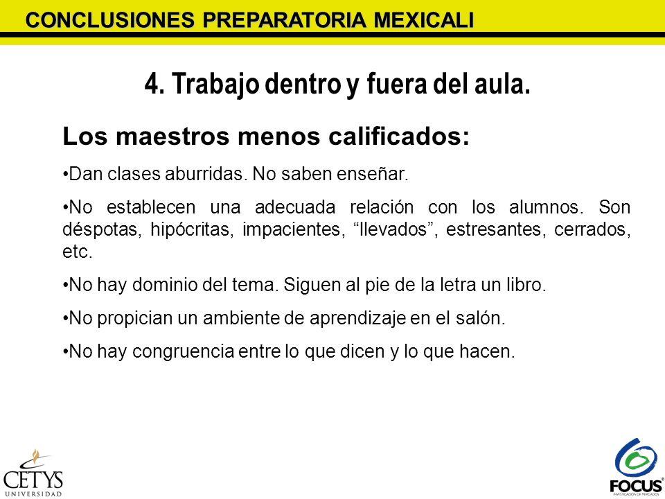 CONCLUSIONES PREPARATORIA MEXICALI 4. Trabajo dentro y fuera del aula. Los maestros menos calificados: Dan clases aburridas. No saben enseñar. No esta
