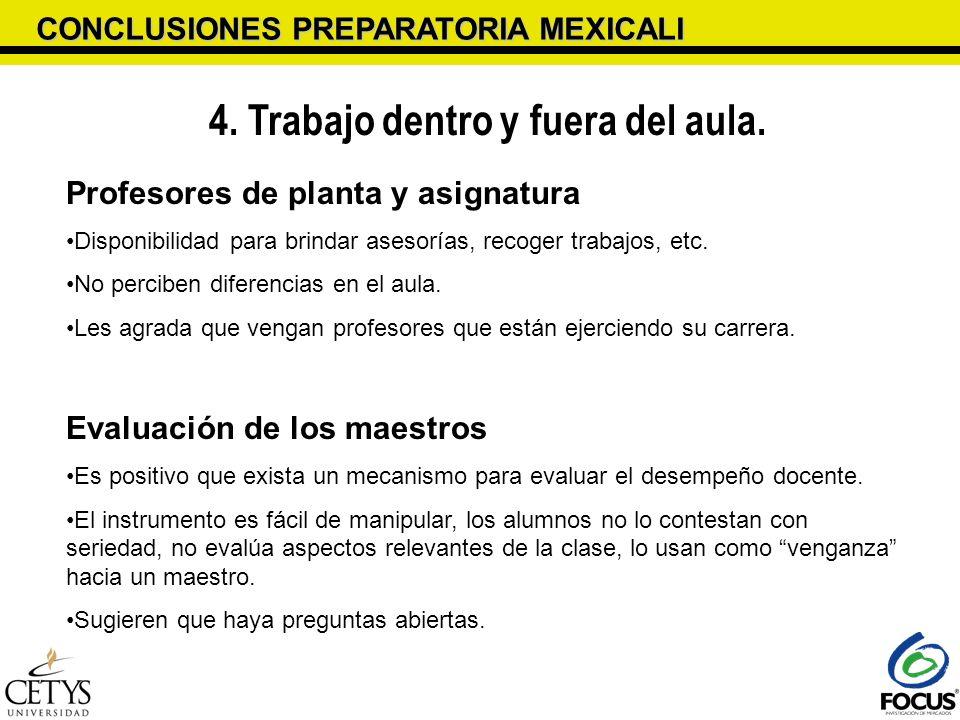CONCLUSIONES PREPARATORIA MEXICALI 4. Trabajo dentro y fuera del aula. Profesores de planta y asignatura Disponibilidad para brindar asesorías, recoge