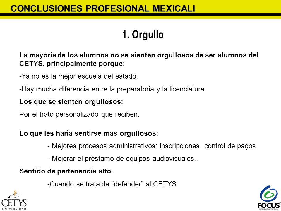 CONCLUSIONES PROFESIONAL MEXICALI 1. Orgullo La mayoría de los alumnos no se sienten orgullosos de ser alumnos del CETYS, principalmente porque: -Ya n