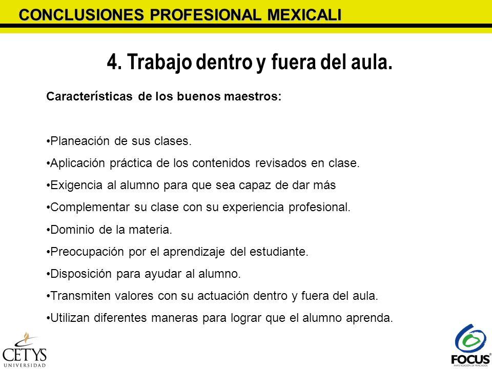 CONCLUSIONES PROFESIONAL MEXICALI 4. Trabajo dentro y fuera del aula. Características de los buenos maestros: Planeación de sus clases. Aplicación prá