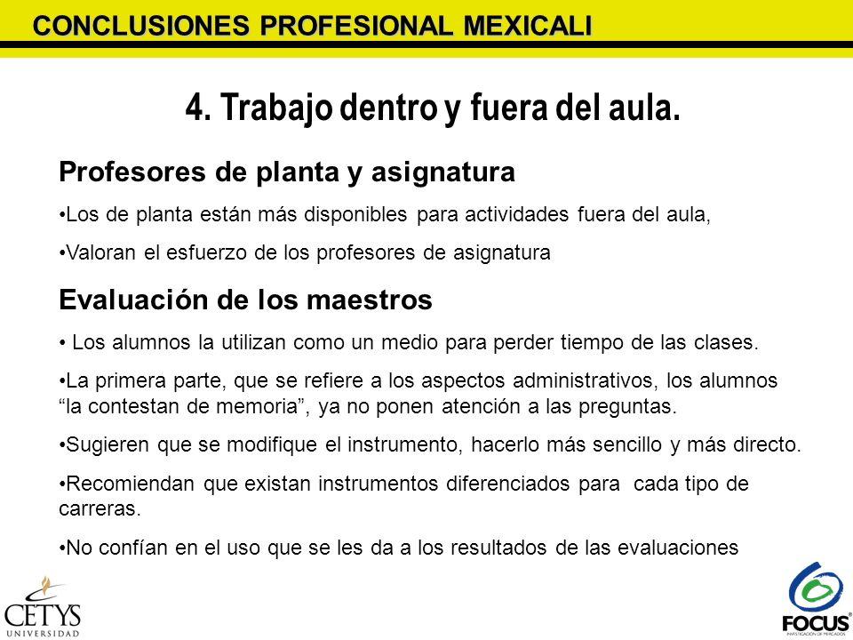 CONCLUSIONES PROFESIONAL MEXICALI 4. Trabajo dentro y fuera del aula. Profesores de planta y asignatura Los de planta están más disponibles para activ