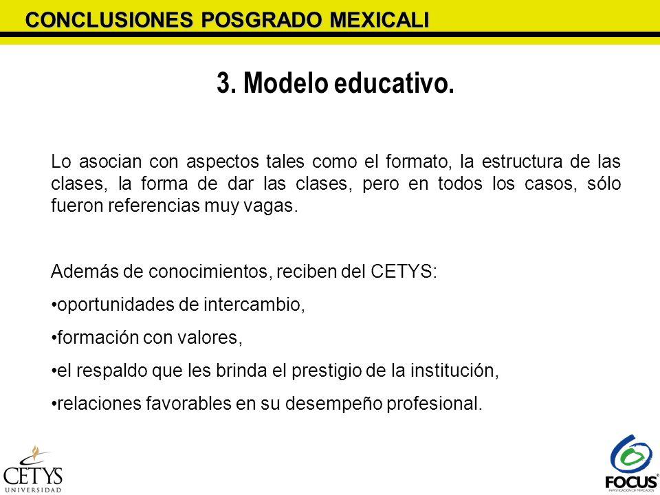 CONCLUSIONES POSGRADO MEXICALI 3. Modelo educativo. Lo asocian con aspectos tales como el formato, la estructura de las clases, la forma de dar las cl