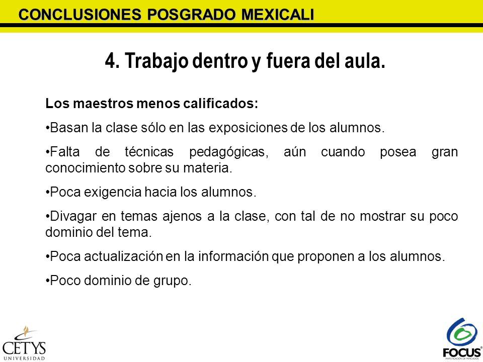CONCLUSIONES POSGRADO MEXICALI 4. Trabajo dentro y fuera del aula. Los maestros menos calificados: Basan la clase sólo en las exposiciones de los alum