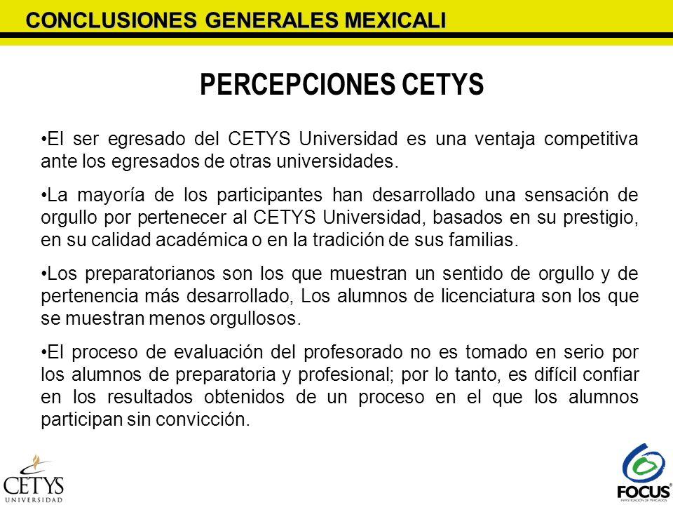 CONCLUSIONES GENERALES MEXICALI PERCEPCIONES CETYS El ser egresado del CETYS Universidad es una ventaja competitiva ante los egresados de otras univer