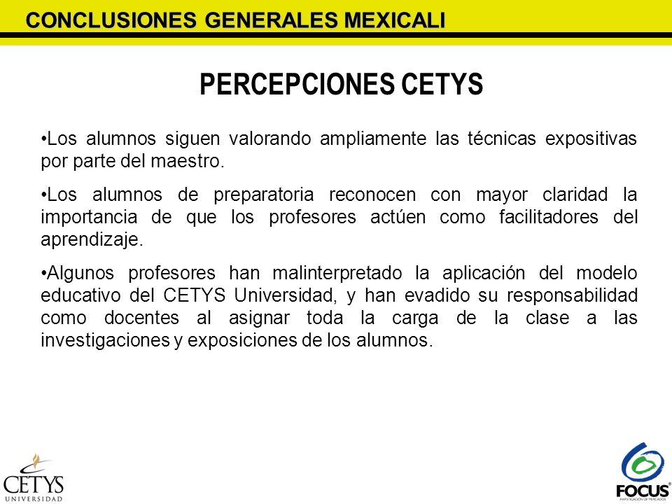 CONCLUSIONES GENERALES MEXICALI PERCEPCIONES CETYS Los alumnos siguen valorando ampliamente las técnicas expositivas por parte del maestro. Los alumno