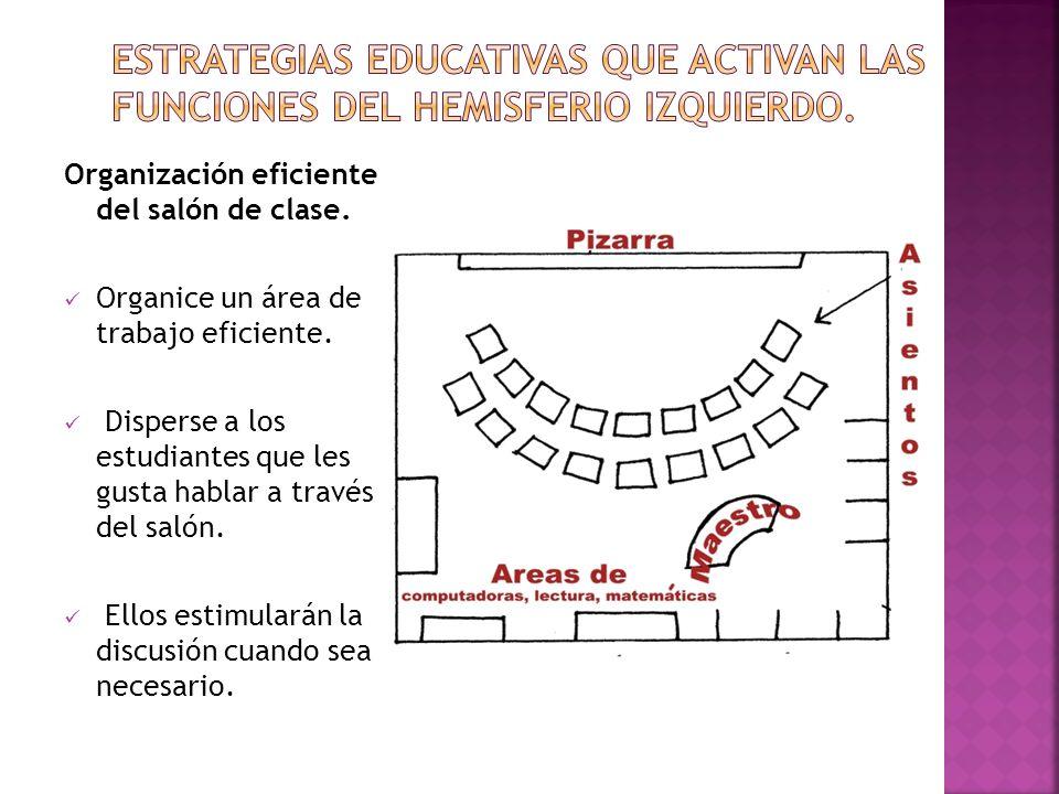 Organización eficiente del salón de clase. Organice un área de trabajo eficiente. Disperse a los estudiantes que les gusta hablar a través del salón.
