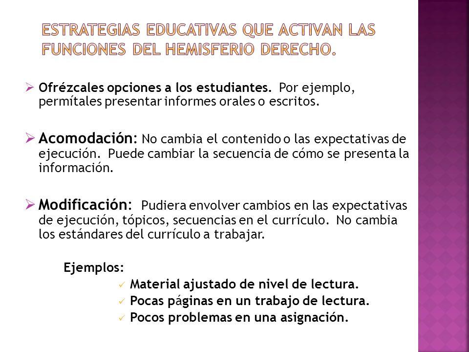 Ofrézcales opciones a los estudiantes. Por ejemplo, permítales presentar informes orales o escritos. Acomodación: No cambia el contenido o las expecta