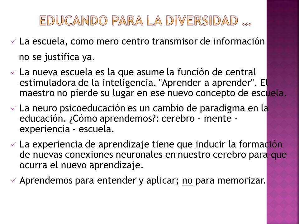 La escuela, como mero centro transmisor de información no se justifica ya. La nueva escuela es la que asume la función de central estimuladora de la i