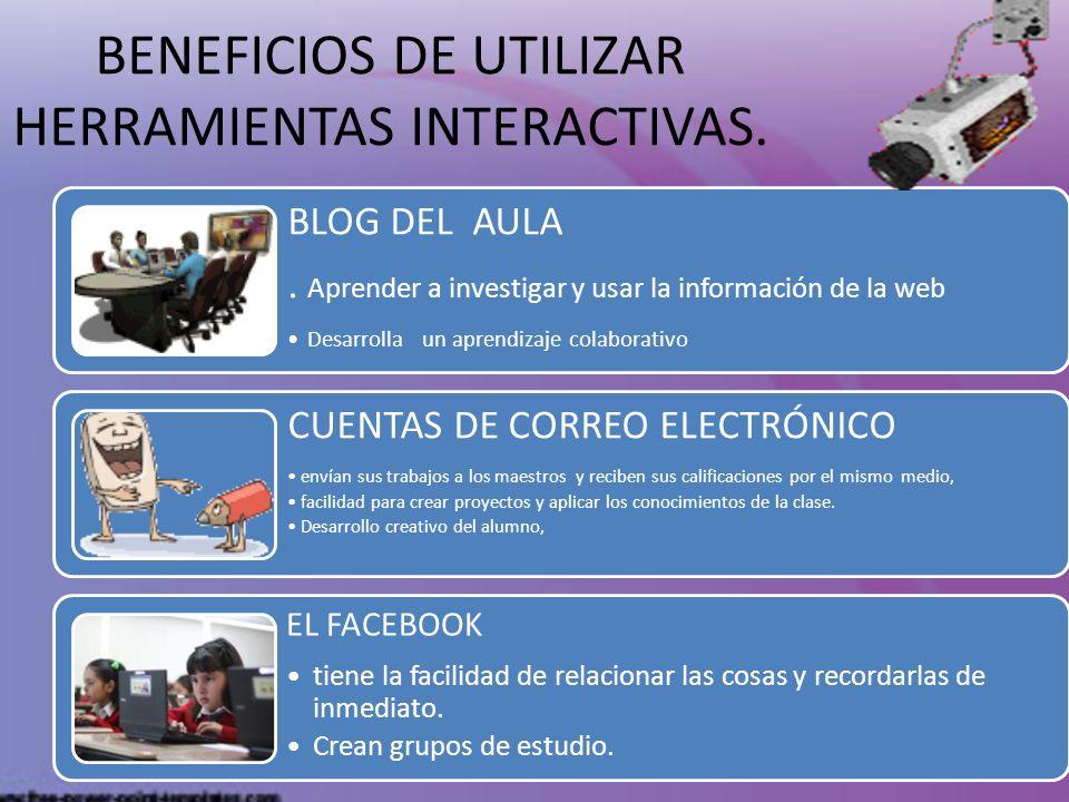 BENEFICIOS DE UTILIZAR HERRAMIENTAS INTERACTIVAS. BLOG DEL AULA. Aprender a investigar y usar la información de la web Desarrolla un aprendizaje colab