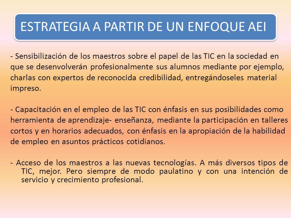 ESTRATEGIA A PARTIR DE UN ENFOQUE AEI - Sensibilización de los maestros sobre el papel de las TIC en la sociedad en que se desenvolverán profesionalme