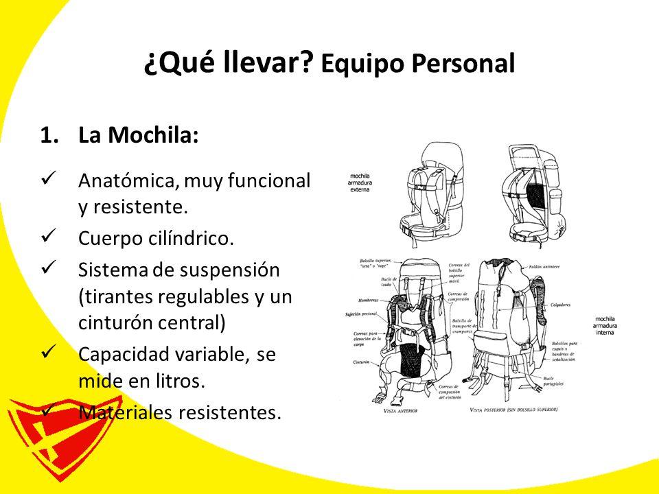 ¿Qué llevar.Equipo Personal 1.La Mochila: Anatómica, muy funcional y resistente.