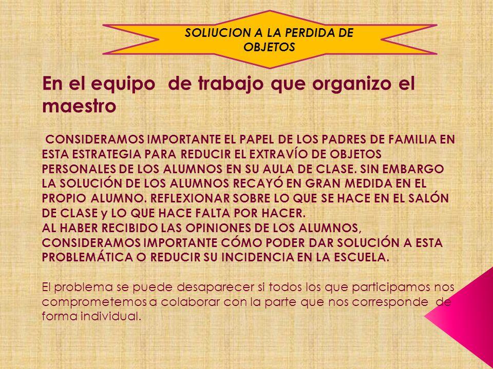 En el equipo de trabajo que organizo el maestro CONSIDERAMOS IMPORTANTE EL PAPEL DE LOS PADRES DE FAMILIA EN ESTA ESTRATEGIA PARA REDUCIR EL EXTRAVÍO