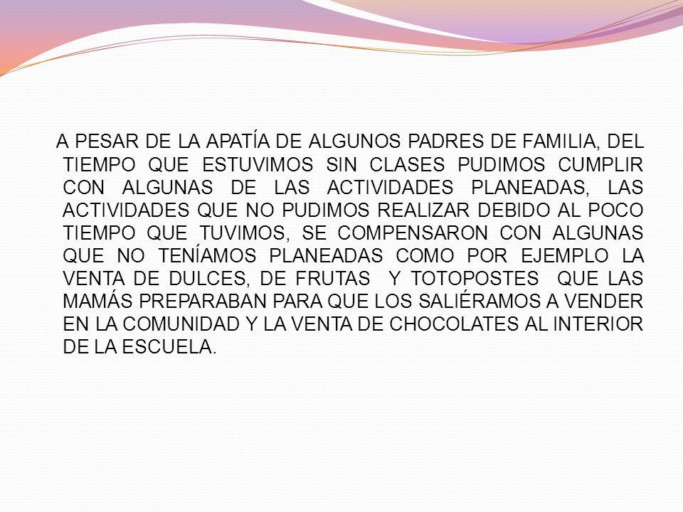 A PESAR DE LA APATÍA DE ALGUNOS PADRES DE FAMILIA, DEL TIEMPO QUE ESTUVIMOS SIN CLASES PUDIMOS CUMPLIR CON ALGUNAS DE LAS ACTIVIDADES PLANEADAS, LAS A