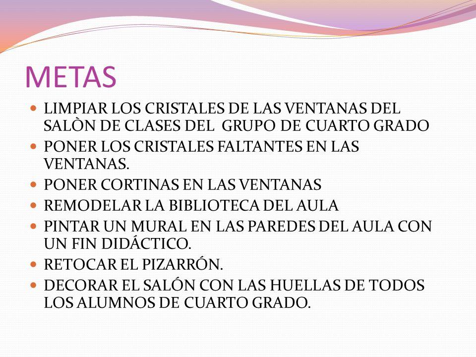 METAS LIMPIAR LOS CRISTALES DE LAS VENTANAS DEL SALÒN DE CLASES DEL GRUPO DE CUARTO GRADO PONER LOS CRISTALES FALTANTES EN LAS VENTANAS. PONER CORTINA