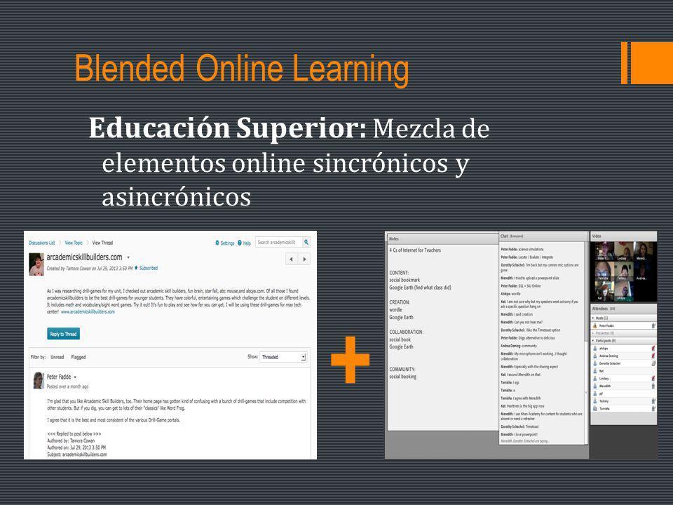 Blended Online Learning Educación Superior: Mezcla de elementos online sincrónicos y asincrónicos +